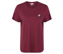 T-Shirt, gerippter Ausschnitt, florale Stickerei
