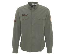 Freizeithemd, Aufnäher, Military-Stil, Button-Down-Kragen
