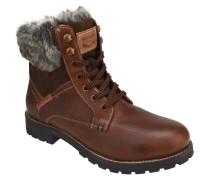 Boots, Leder, Kunstpelz-Schaft, Schnürung, uni