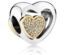 Charm Herz Silber mit Gold und Zirkonia 791806CZ