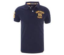 Poloshirt, Melange, Schrift-Stickerei, Logo-Patch