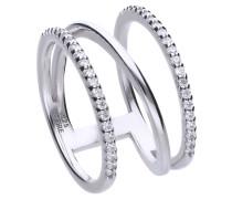 Statement-Ring  mit weißen Zirkonia-Steinen und mehreren Ringschienen 6118631082180