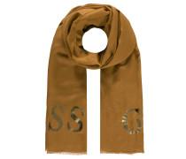 Schal, Metallic-Schriftprint, zarte Fransen