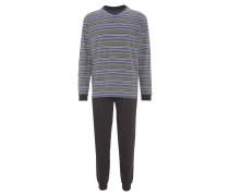 Schlafanzug, lang, Baumwolle, gestreift, Taschen