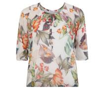 Blusenshirt, Chiffon, Print, 3/4 Arm, transparent, Große Größen