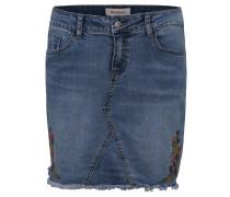 Minirock, Jeans-Stoff, florale Stickerei, Fransen-Saum