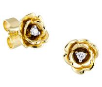 Diamant-Ohrstecker 375 Gelb mit 2 Diamanten, zus. ca. 0