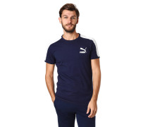 T-Shirt, Kontrast-Einsatz, Logo-Print