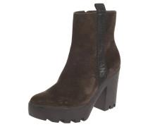 Ankle Boots, Leder, Plateau, Blockabsatz