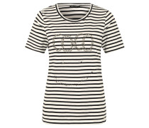 T-Shirt, Jersey, Nietenbesatz, Rundhalsausschnitt, gestreift