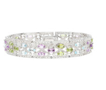 Armband mit Edelsteinen, Sterling Silber 925