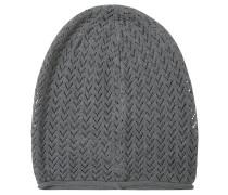 Mütze, Feinstrick, Ajour-Muster, unifarben