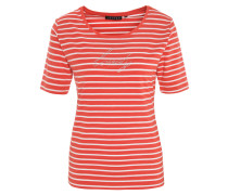 T-Shirt, gestreift, Strass-Schriftzug