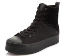 Sneaker, uni, halbhoher Schaft, Plateau