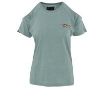 T-Shirt, Rundhalsausschnitt, Schulter-Cut-Outs, Marken-Stickerei