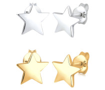 Ohrringe Set Sterne Star Astro Bi-color 925 Sterling