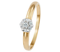 Ring 585 Gelb mit 7 Diamanten, zus. ca. 0,10 ct.