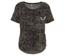 T-Shirt, gemustert, Vogel-Patch, Pailletten