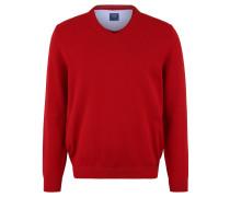 Pullover, Strick, V-Ausschnitt, Rippbündchen, unifarben, Baumwolle