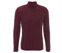 Pullover, Rollkragen, Zopfmuster, Rot