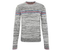 Pullover, meliert, Strick, Rundhalsausschnitt, Kontraststreifen
