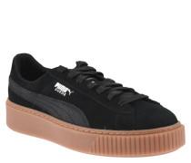 Sneaker, Veloursleder, breite Gummi-Sohle, Label-Print