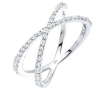 Ring Kreuz Wickelring Zirkonia 925er Sterling Silber
