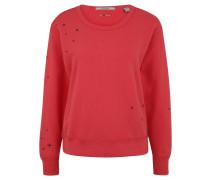 Sweatshirt, Stickereien, offene Schnittkanten