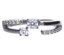 Ring, Sterling  925, -Zirkonia, zus. 0,79 ct