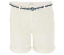 Shorts, Ziersteppung, Taschen, geflochtener Gürtel