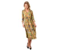 Kleid, 3/4 Arm, Tunnelzug, Rüschen, V-Ausschnitt