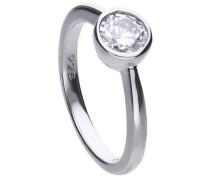Solitär-Ring  mit weißem -Zirkonia und Zargen-Fassung 6118131582170