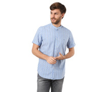 Freizeithemd, Streifen, Umschlag-Ärmel, Leinen-Anteil