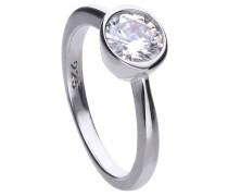 Solitär-Ring  mit weißem -Zirkonia und Zargen-Fassung 6118141582180