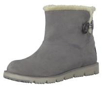 Boots, Velours-Optik, Knopf-Detail
