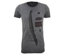 T-Shirt, Print, Used-Look, offene Säume