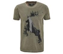 T-Shirt, Print, meliert, Rundhalsausschnitt