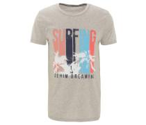 T-Shirt, Front-Print, reine Baumwolle, Logo-Stickerei