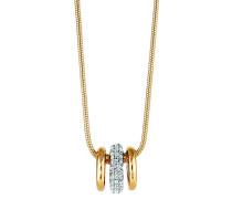 Anhänger mit Kette Messing bicolor mit Kristall Messing vergoldet (teil) 40