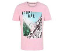 T-Shirt, Rundhalsausschnitt, Front-Print, seitliche Kontrastnaht