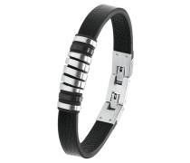 Herren Leder-Armband IP BLACK, Edelstahl 2020897