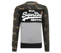 Sweatshirt, gummierter Print, Camouflage, Rippbündchen