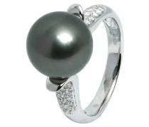 Ring 585 Weißgold mit 38 Diamanten, zus. ca. 0.24 ct. und Tahiti-Zuchtperle 10