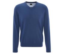 Pullover, V-Ausschnitt, unifarben, Baumwolle