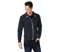 Sweatjacke, Regular Fit, Klappkragen, gerippte Bünde