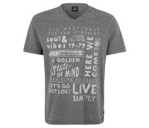 T-Shirt, meliert, Print, V-Ausschnitt