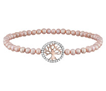 Armband, Perlen Rosé, Baum Rotvergold