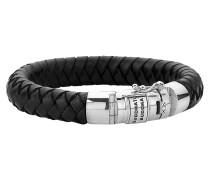 "Armband ""Ben"", geflochtenes Leder, Silberschließe"