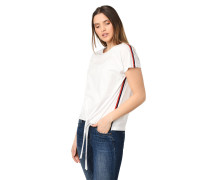 T-Shirt, Kontraststreifen, Binde-Detail