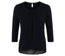 Blusenshirt, 3/4-Arm, Falten-Details, unifarben, Stretch-Anteil